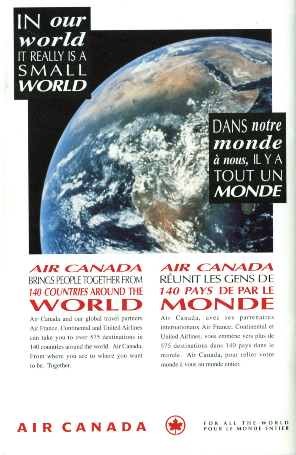 Air Canada Cup Booklet - Back