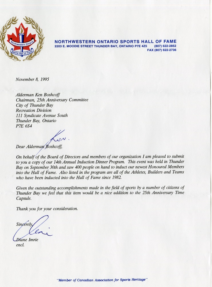 Northwestern Ontario Sports Hall of Fame - Letter