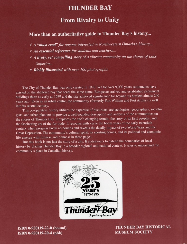 Thunder Bay Historical Society - Book Back