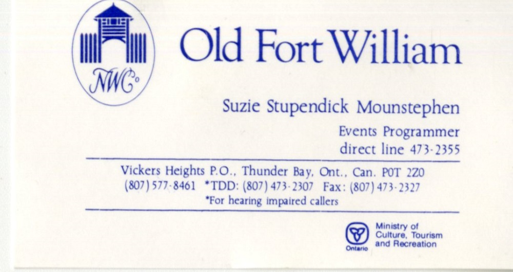 Old Fort William - Business card
