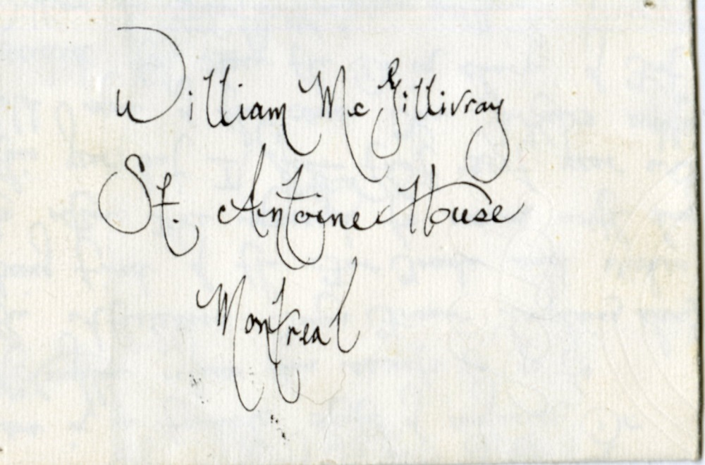Old Fort William - William McGillvary letter