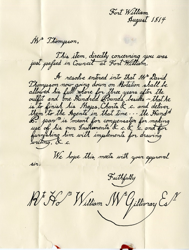 Old Fort William - W. David Thompson letter