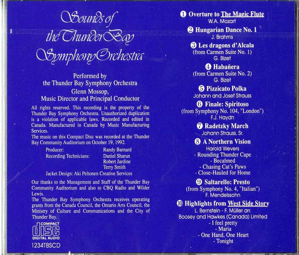 Thunder Bay Smphony Orchestra CD - Back