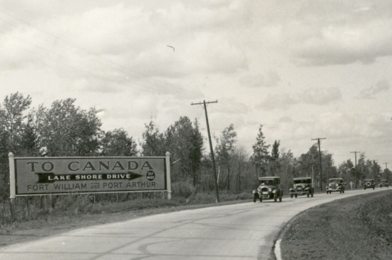 Historic photo of Fort William and Port Arthur road sign