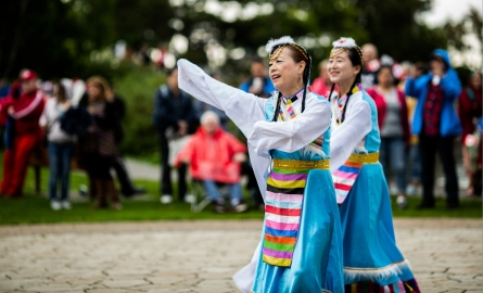 Women in traditional costumes dancing