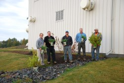 staff at barepoint water treatment facility planting new rain garden