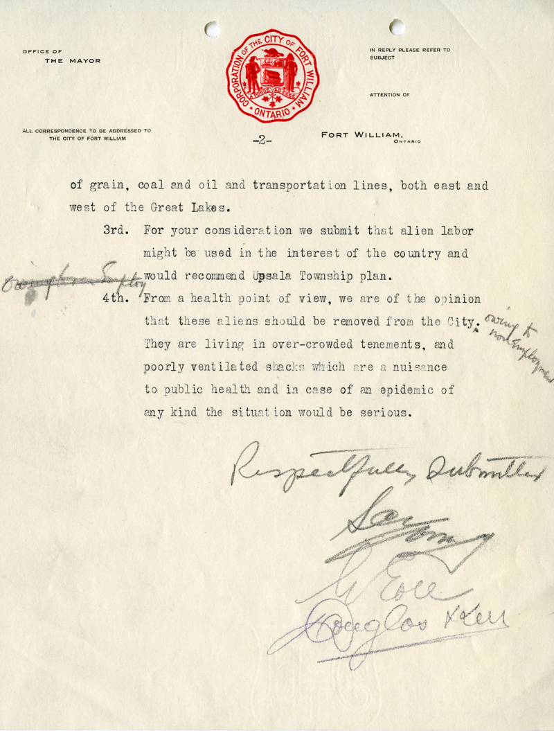 Enemy aliens committee recommendation letter