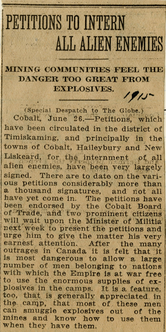 Enemy aliens newspaper clipping
