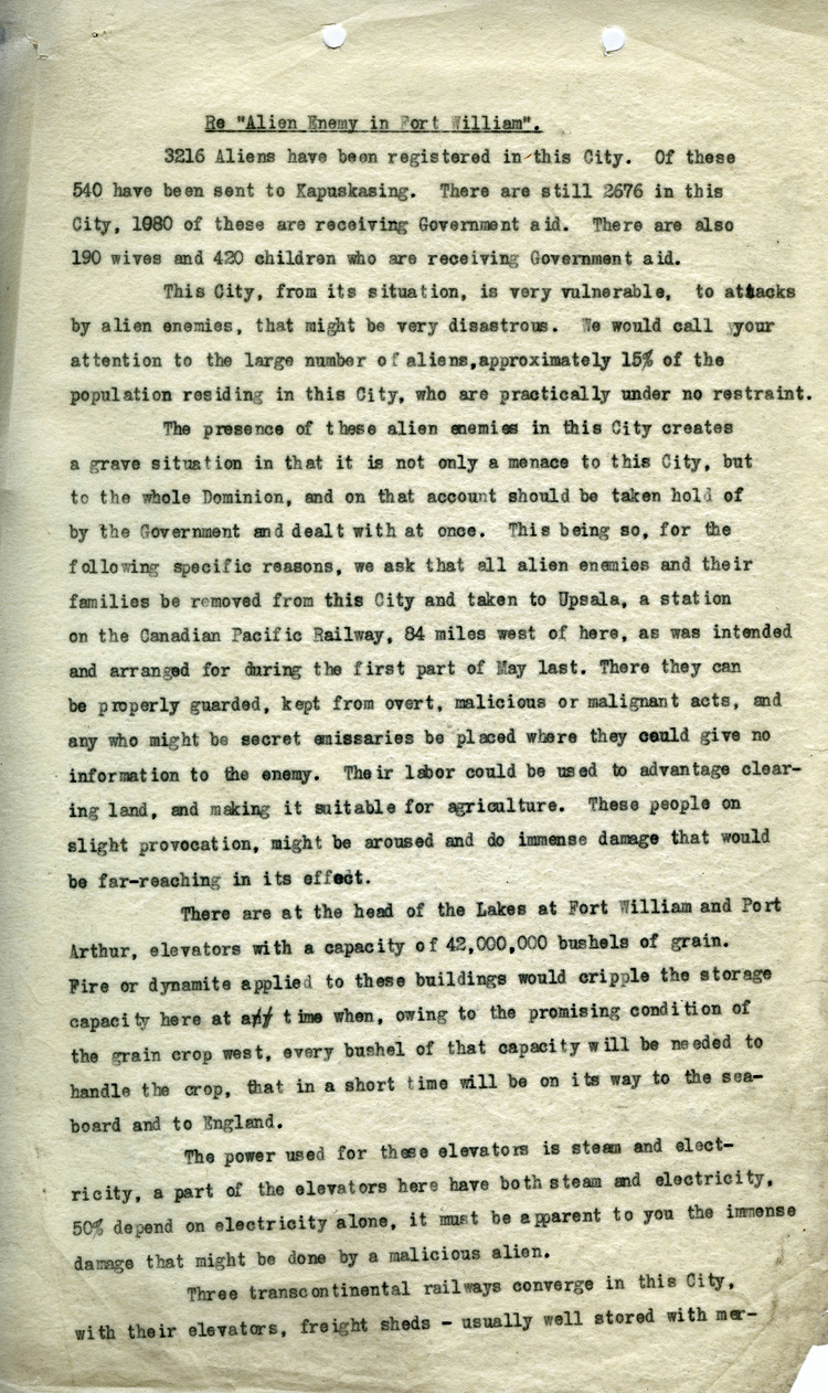Enemy aliens request and information letter