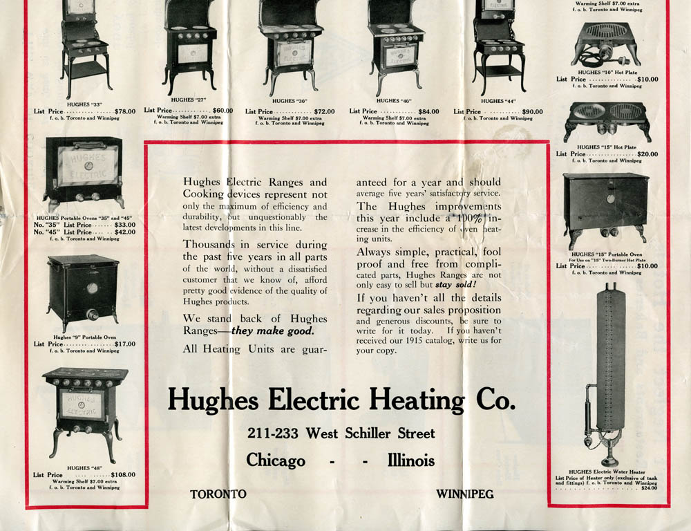 Advertisement for Hughes Electronic Ranges