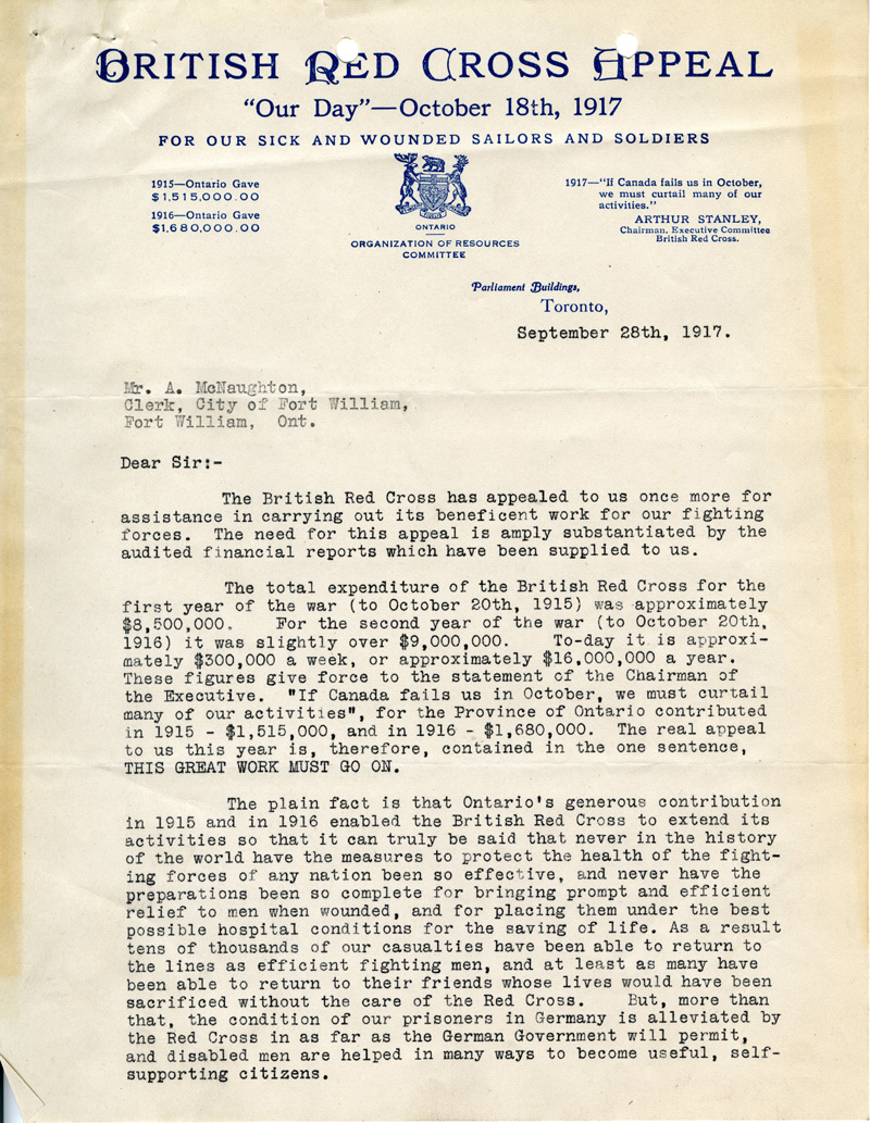 British Red Cross appeal letter