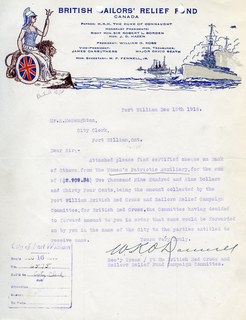 British Sailors' Relief Fund letter