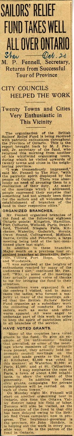 Sailors' Relief Fund newspaper clipping