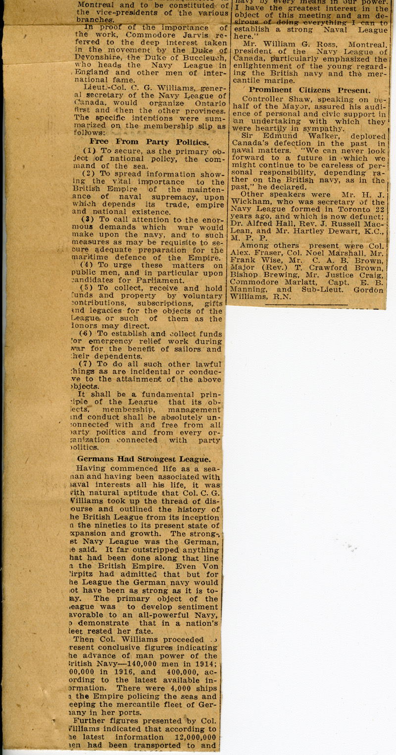 Navy League of Canada newspaper clipping