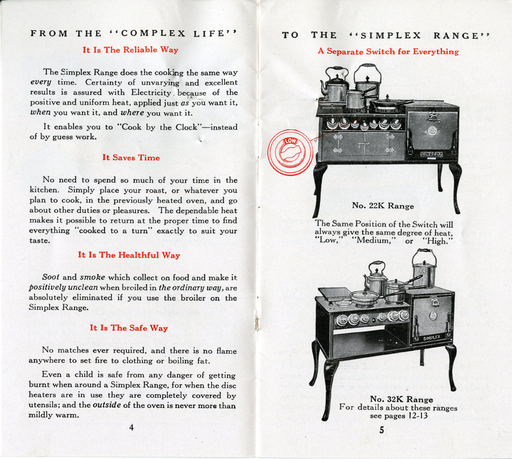 Advertisement for Simplex Electric Ranges