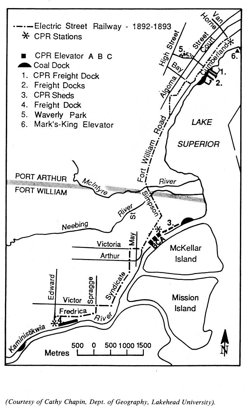 A hand drawn map of the electric street railway in Port Arthur and Fort William