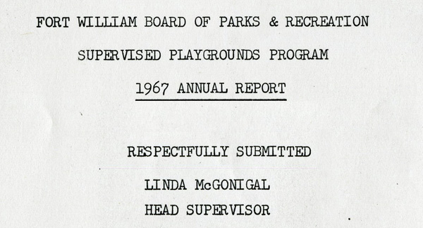 A typed document showcasing the front page of the 1967 annual parks report