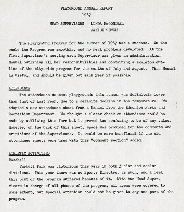 A typed page detailing the 1967 annual parks report