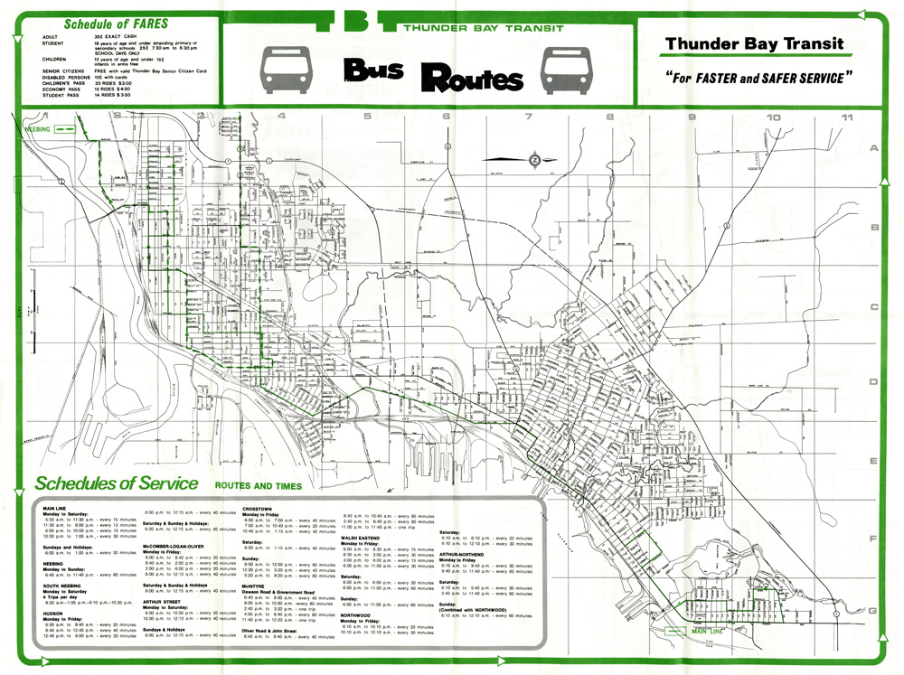 A map depicting transit routes for the City of Thunder Bay
