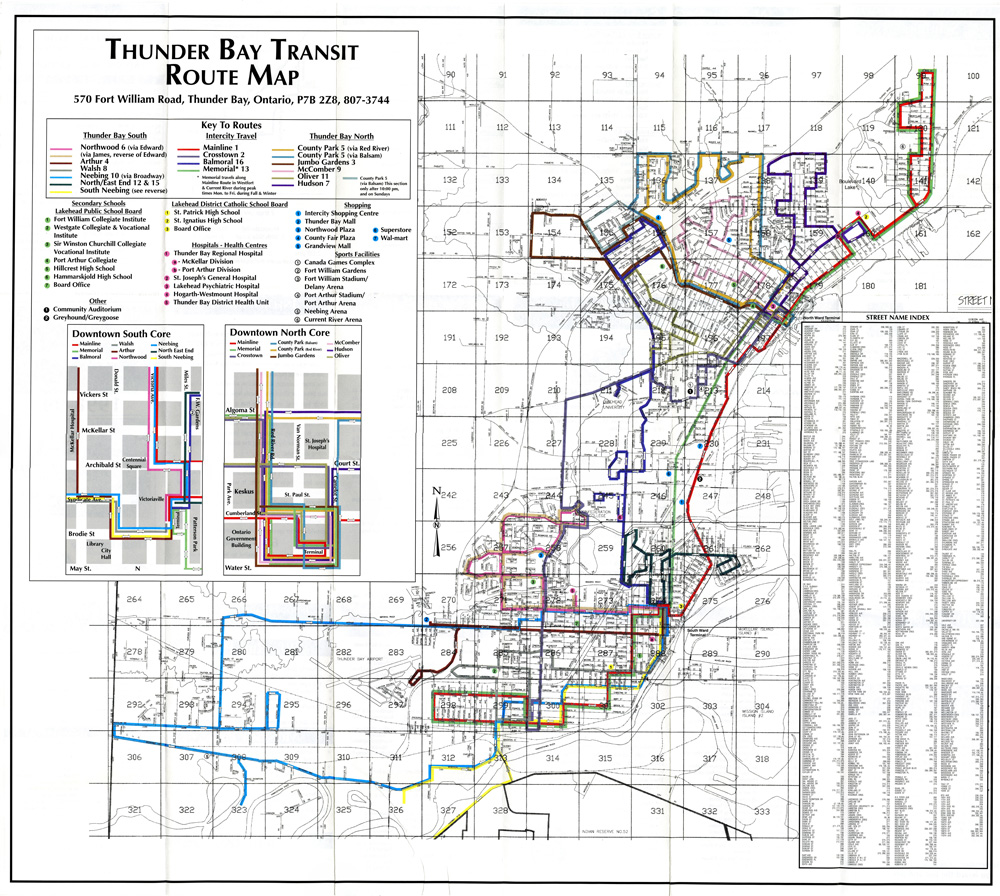For the most recent map of Thunder Bay Transit routes please Click Here!