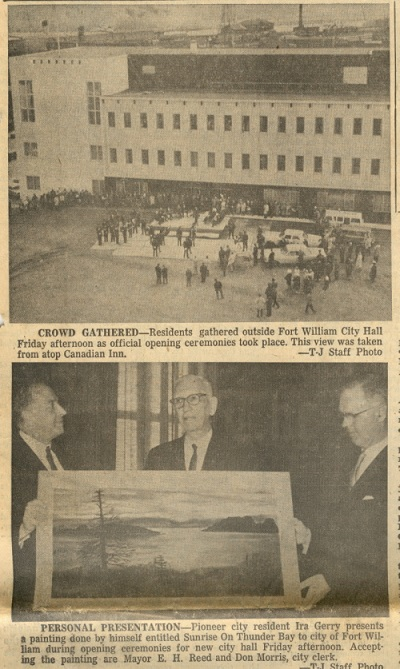A newspaper article showing people gathered in front of a new building