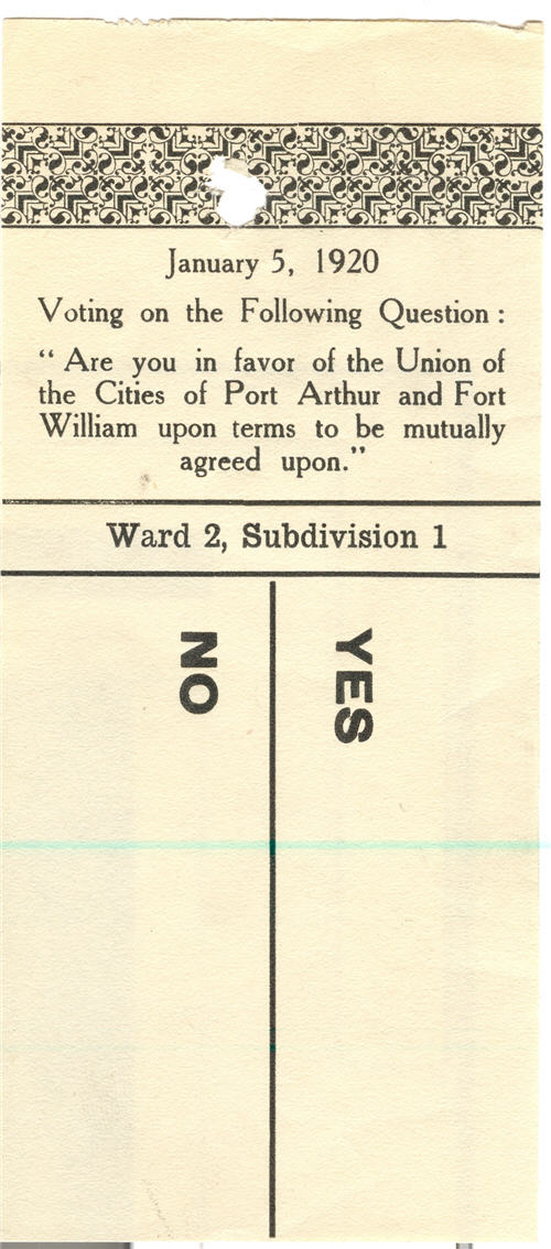 A typed ballot detailing a large YES and NO