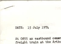 A typed document with the date 15 July 1974 at the top