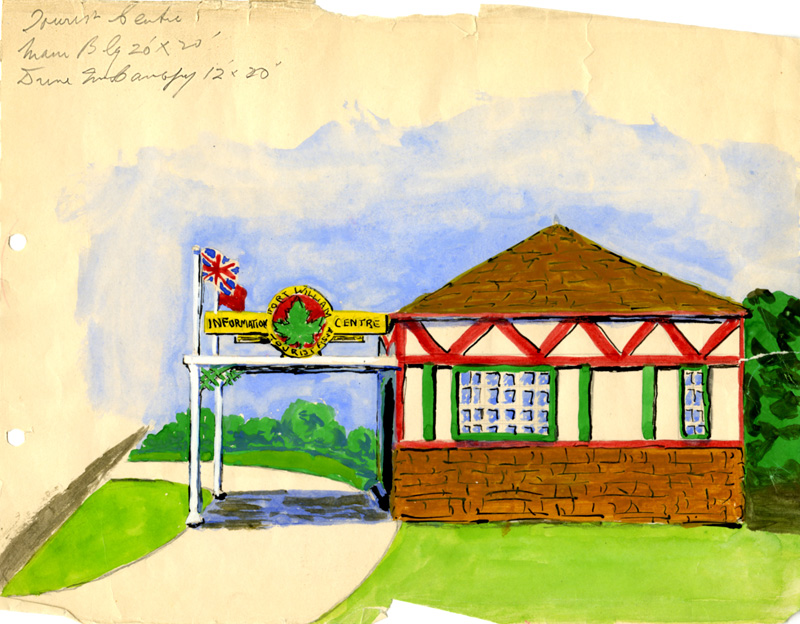 A coloured painting of the proposed tourist infromation centre