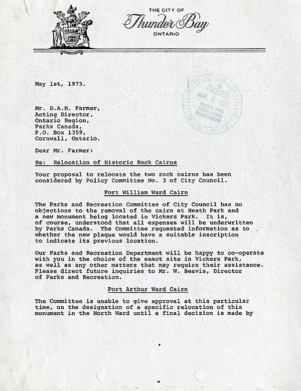 A typed letter on City of Thunder Bay Letterhead