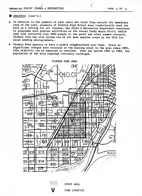 A typed document on white paper with a map at bottom of Vickers Park