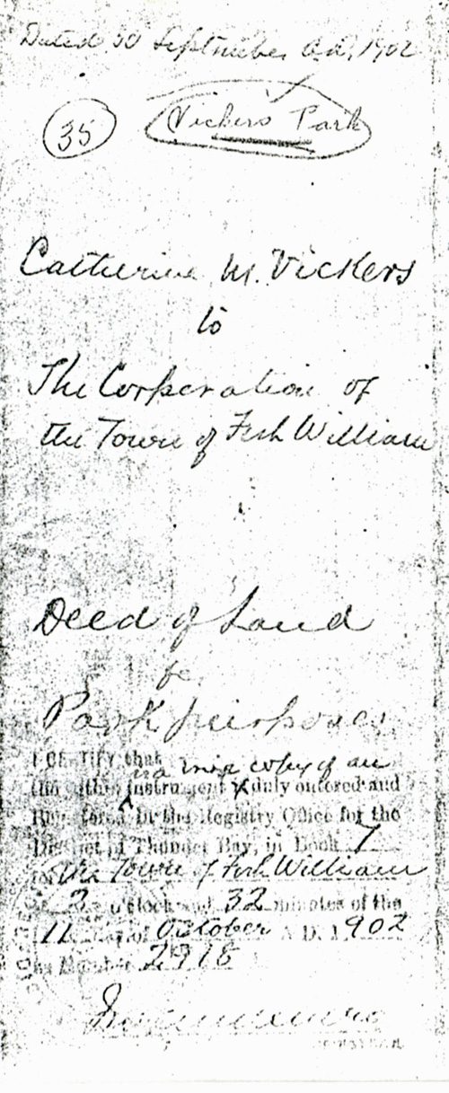 A handwritten note that accompanied the deed of land