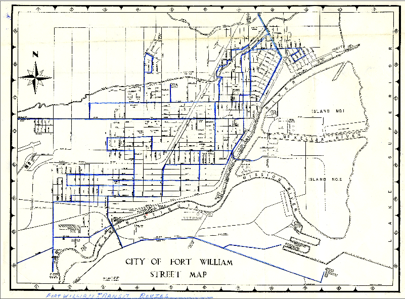 A hand drawn map of transit routes in the city of Fort William, 1960