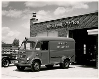 A firetruck sits outfront of the No.2 Fire Station