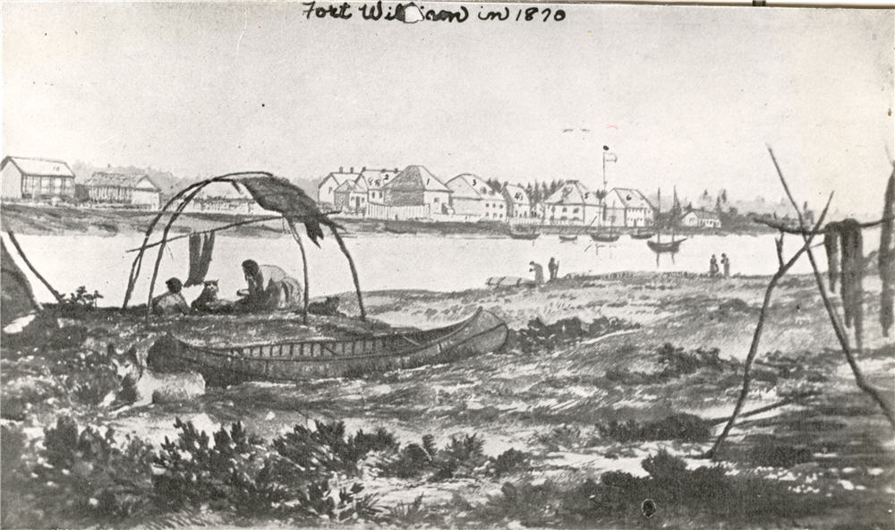 A drawing of the waterfront overlooking a body of water with canoes and houses