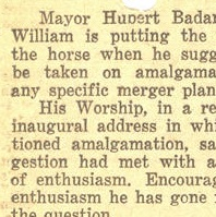 A cut out section of a newspaper article on amalgamation