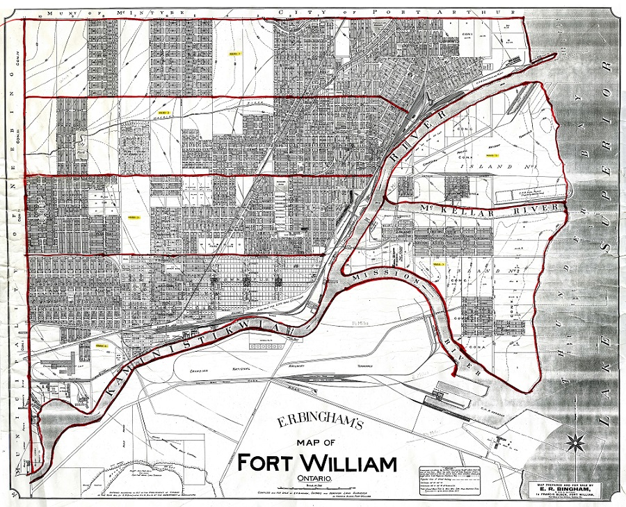 a handrawn map of Fort William showing streets and major buildings