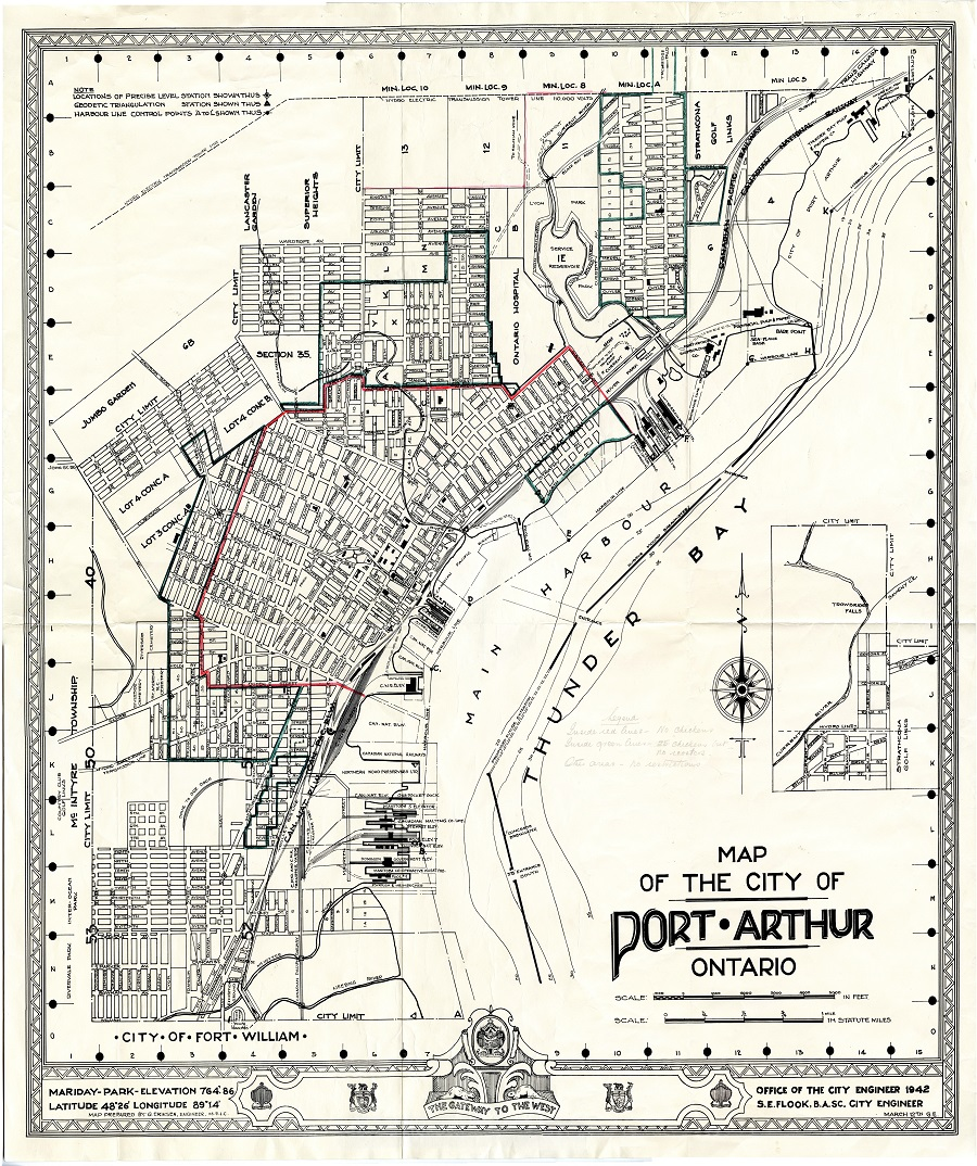 A hand drawn map of Port Arthur showing city streets and buildings