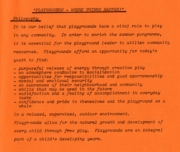 An orange paper with the typed philisohpical message of what Playgrounds are