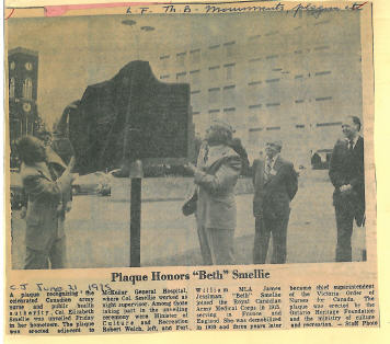Newspaper clipping plaque unveiling