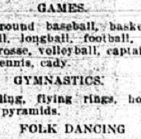 A typed black and white newspaper clipping detailing games