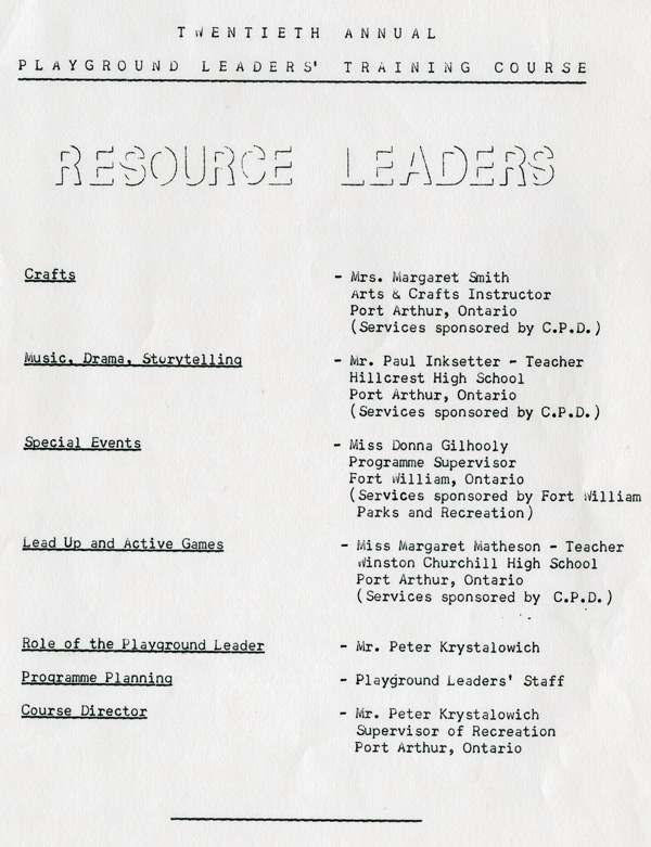 A typed document detailing the Playground Leaders Course
