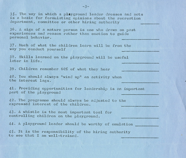 A blue paper with typed writing