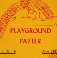 "A yellow paper with orange writing shows a woman and children above the words ""Playground Patter"""