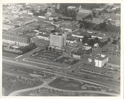 The Public Utilities Commission building (centre) and surrounding area, in an aerial photograph.