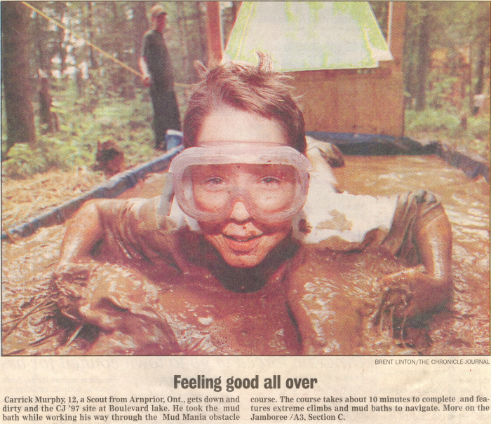 A cut out newspaper article showing a boy wearing goggles