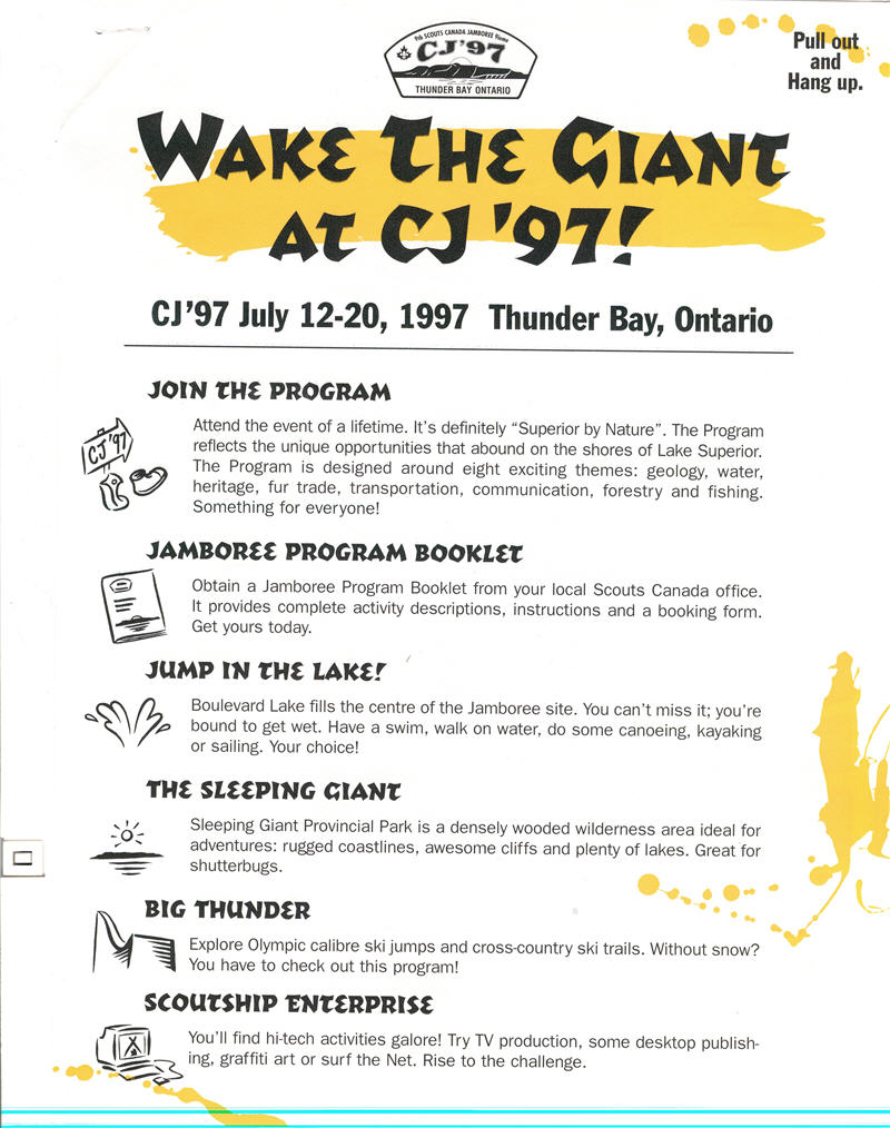 A typed booklet with activities listed for the Scouts