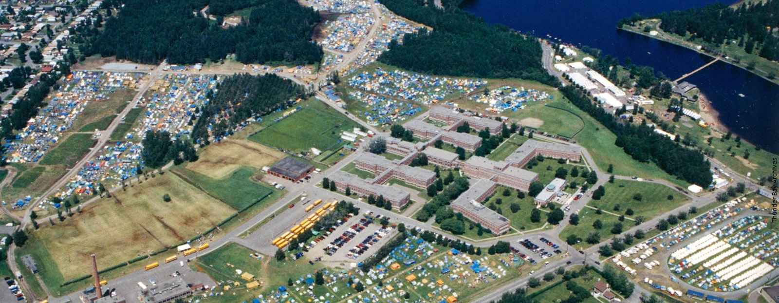 An aerial coloured photogrpah showing scouts camping in Thunder Bay