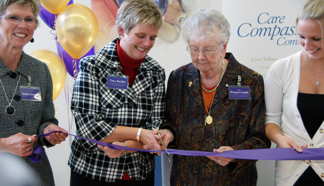 Sister Margaret Smith at a ribbon cutting ceremony