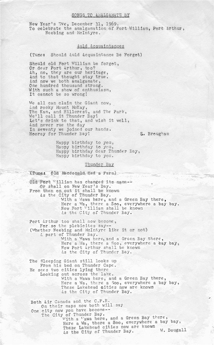 A typed sheet of lyrics to the Amalgamation song