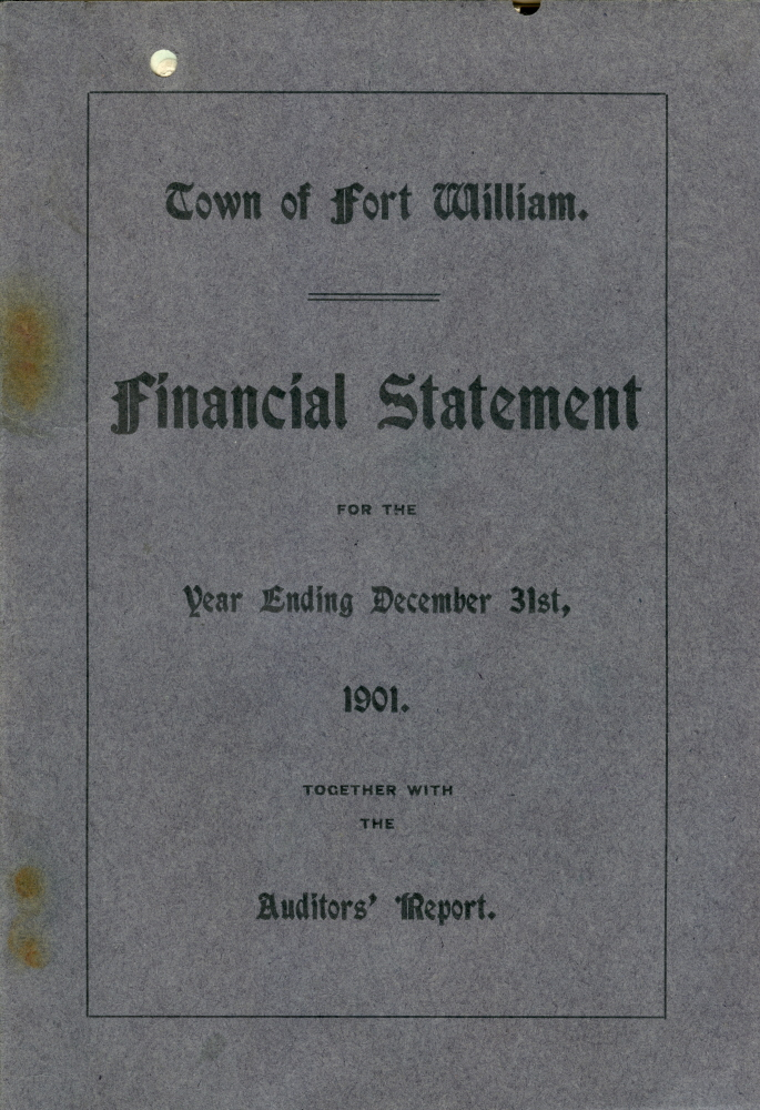 A blue paper with black writing detailing the finances for Fort William